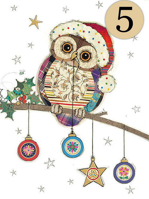 Christmas Owl with baubles, 5 pack