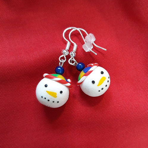 Christmas snowmen drops with blue bead