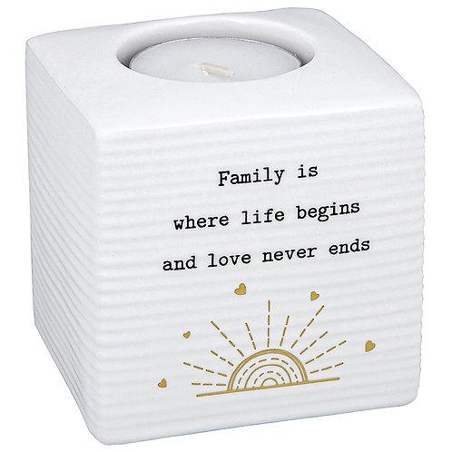 Thoughtful words tea light holder, Family