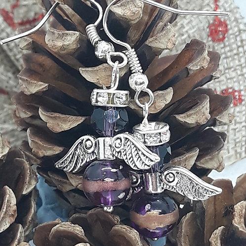 Purple beaded angel drops