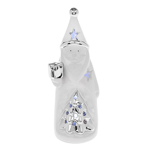 Silver and white LED santa