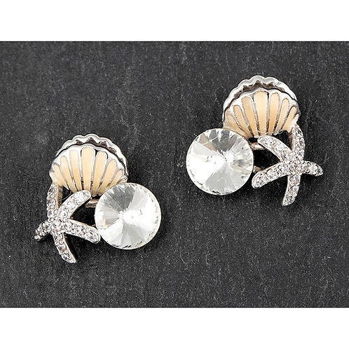 Starfish and shells sparkly studs
