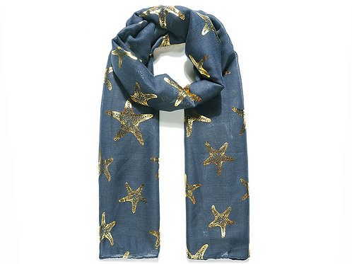 Navy scarf with gold print starfish