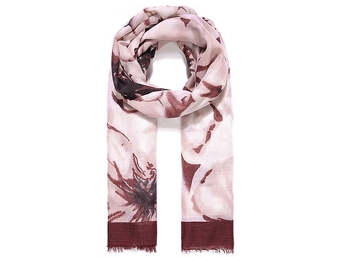 Scarf with wine border