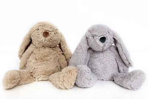 Cream or grey fluffy rabbit doorstops