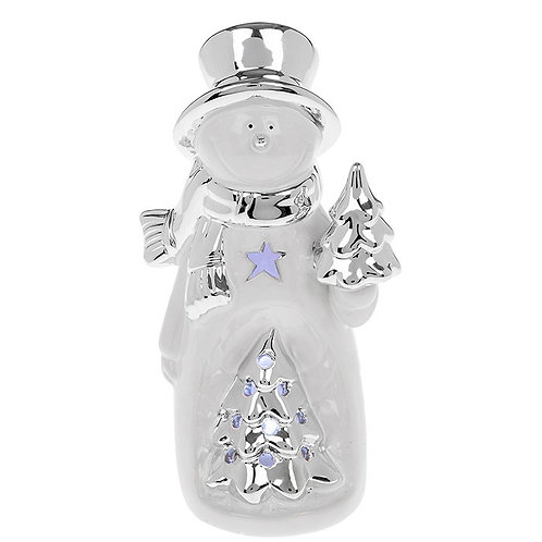 Silver and white LED snowman