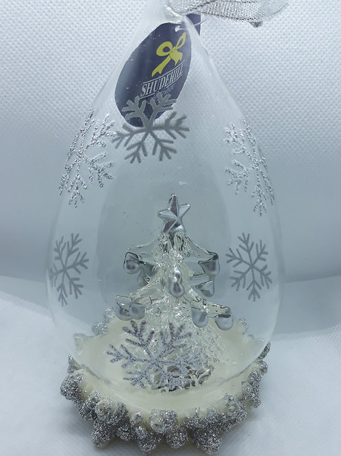 Glass teardrop decoration with silver tipped tree