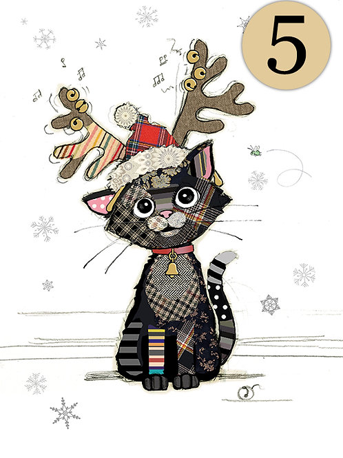 Christmas Cat with antlers, 5 pack