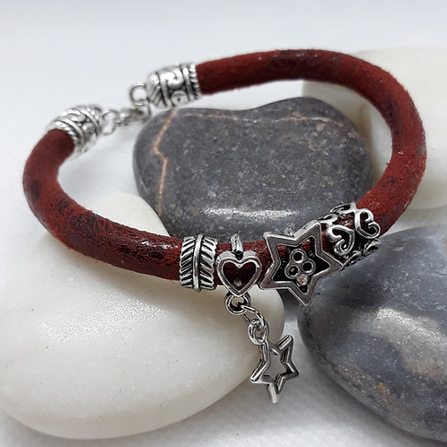 Brown faux leather bracelet with bead charms