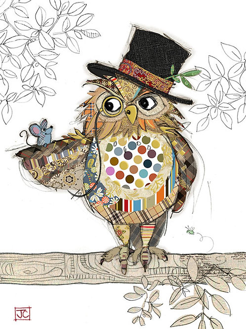 Oswald owl card From Bug Art