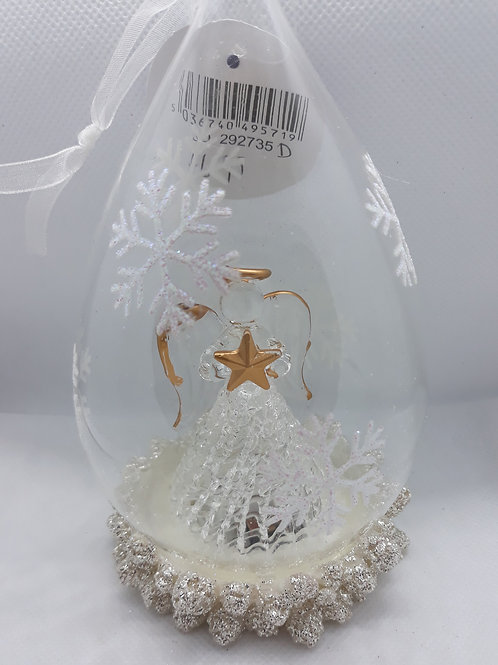 Glass teardrop decoration with angel