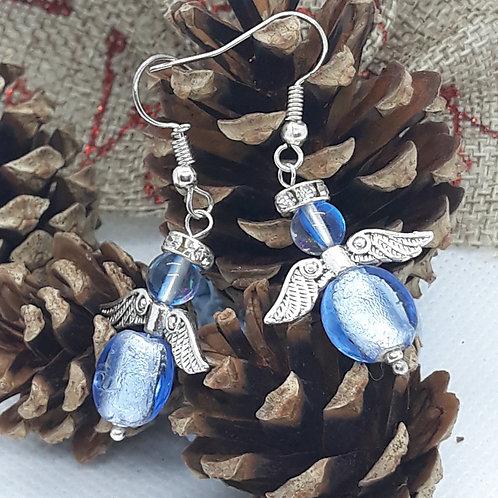 Blue beaded angel drops