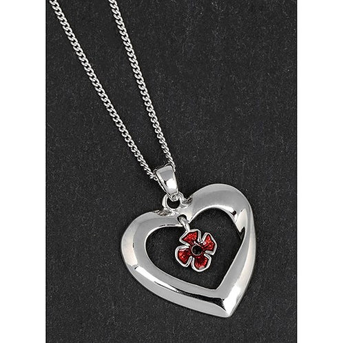 Heart with poppy necklace