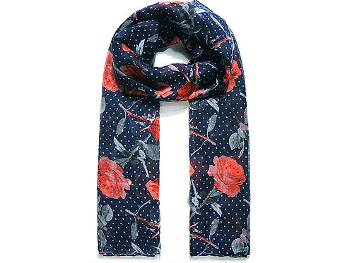 Navy scarf with dots and roses