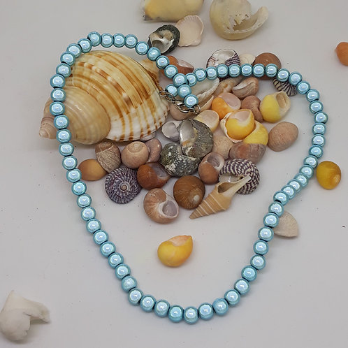 Pale blue miracle bead necklace 16""