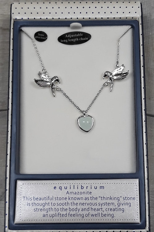 Birds and Amazonite heart necklace