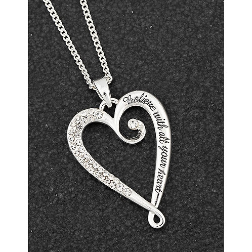 """Heart necklace """"Believe with all your heart"""""""