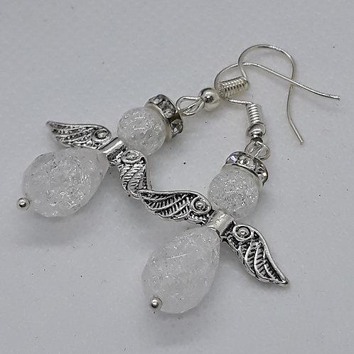 Crackle glass bead angel