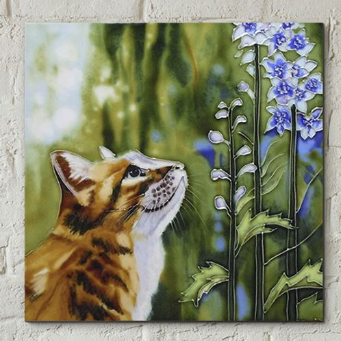 Ceramic tile, cat with bluebells