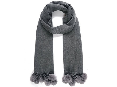 Dark grey scarf with pompoms