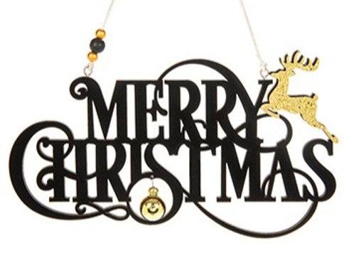 Merry Christmas flock sign, black