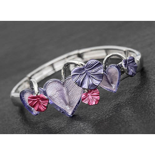 Purple etched leaves bangle