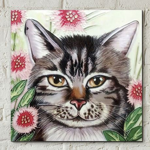 Ceramic tile, tabby cat