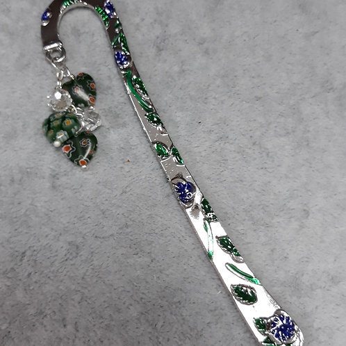 Enamel bookmark with milifiore  heart beads