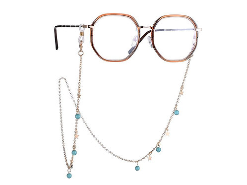 Turquoise and star Glasses chain
