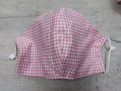Pink and white gingham face mask, medium
