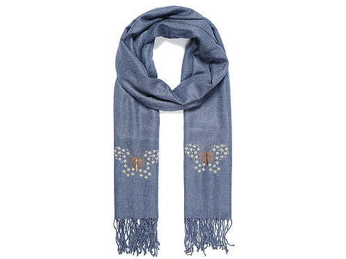 Blue scarf with embroidered butterflies