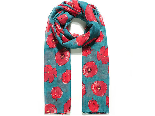Teal scarf with poppies
