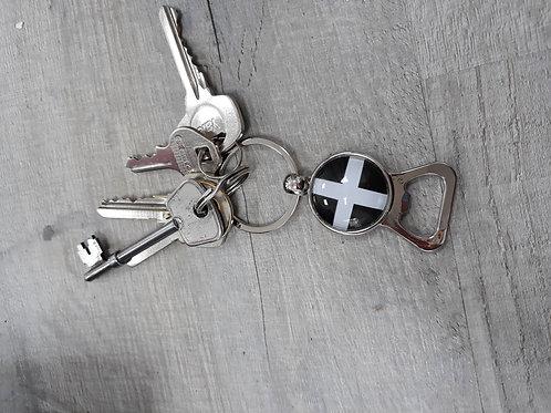 Bottle opener key ring with Cornish flag