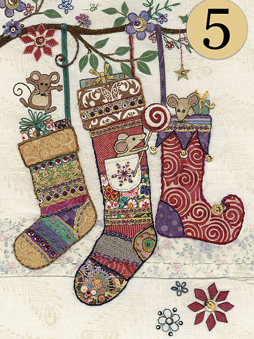 Christmas Stockings with mice cards, 5 pack