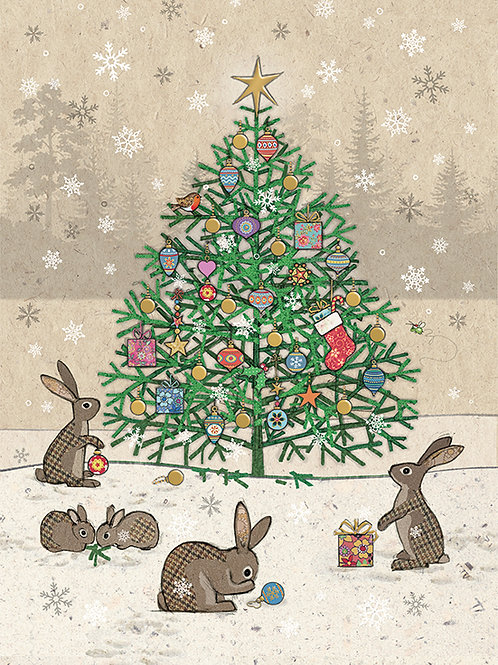 Christmas tree with rabbits card