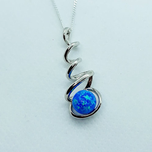 Sterling silver swirl necklace with created opal