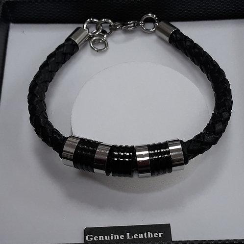 Black leather mans bracelet