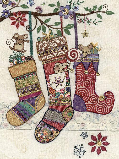 Christmas stockings with mice card
