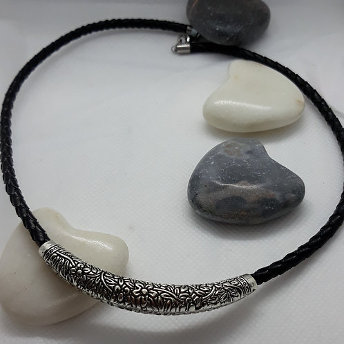 Black plated leather necklace