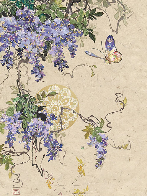 Wisteria and butterfly card