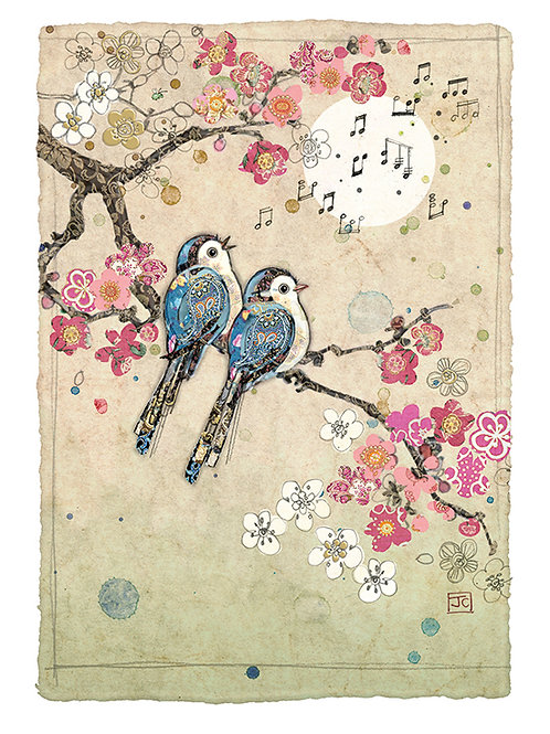 Blue song birds card