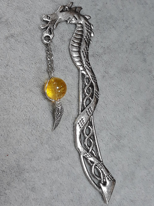 Dragon bookmark with bead and wing charm