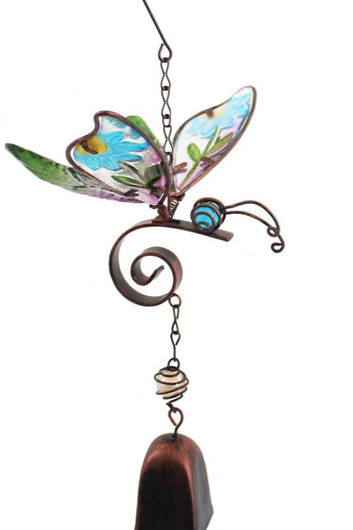Butterfly windchime with blue flowers