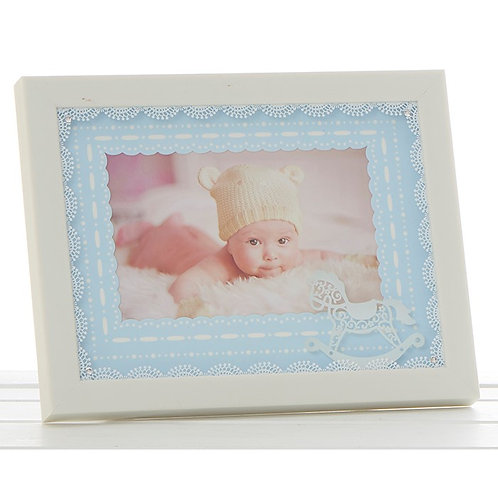 Cream lace baby boy frame