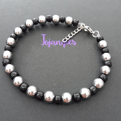 Man's black and silver beaded bracelet