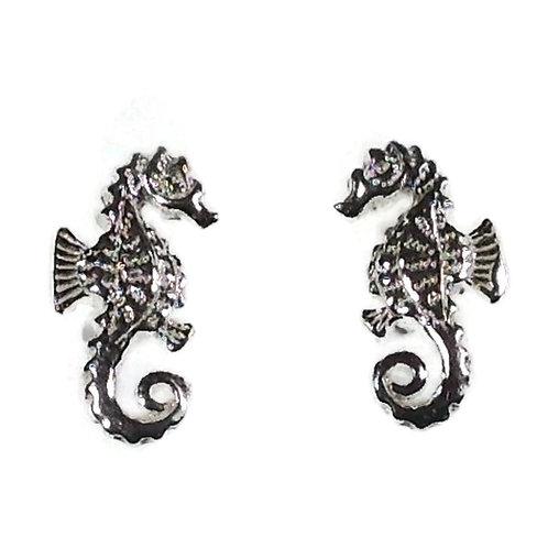 Silver seahorse studs