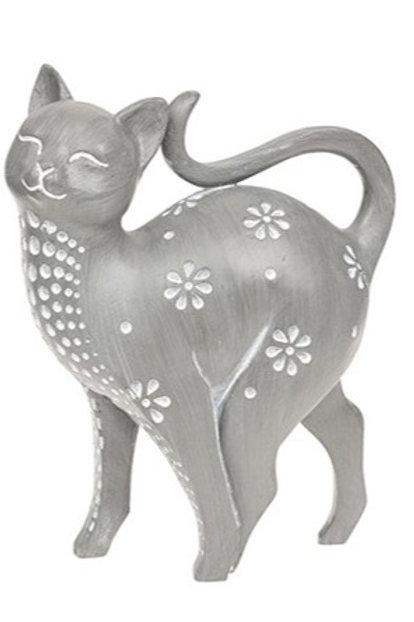 Grey cat ornament Facing left 17cm