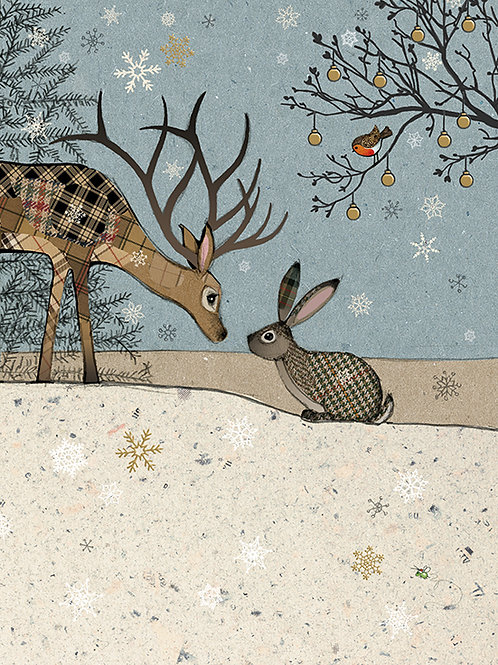 Deer and Rabbit at Christmas card. 5 PACK