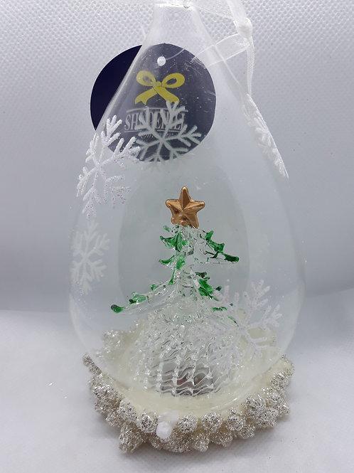 Glass teardrop decoration with tree
