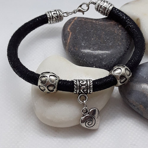 Black fabric cord Bracelet with heart